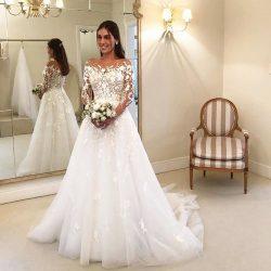 Elegante Brautkleider A Linie Mit Ärmel | Günstige Hochzeitskleider mit Spitze