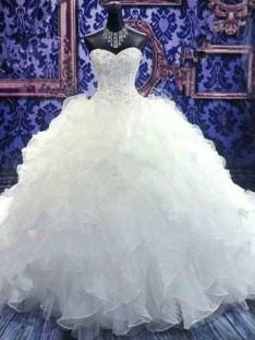 Robe de bal Col en coeur Traîne Chapelle Pailleté Organza Robes de Mariée