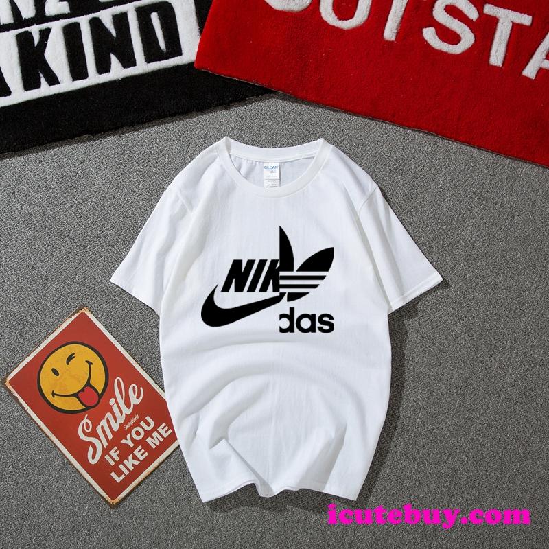 Adidas Nike 合体したロゴTシャツ ナイキ アディダス 半袖ティーシャツ 12色 男女夏の人気コーディ