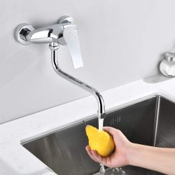 Homelody neue messing Küchen-armatur 180 ° drehbare Wand-Küchenarmatur