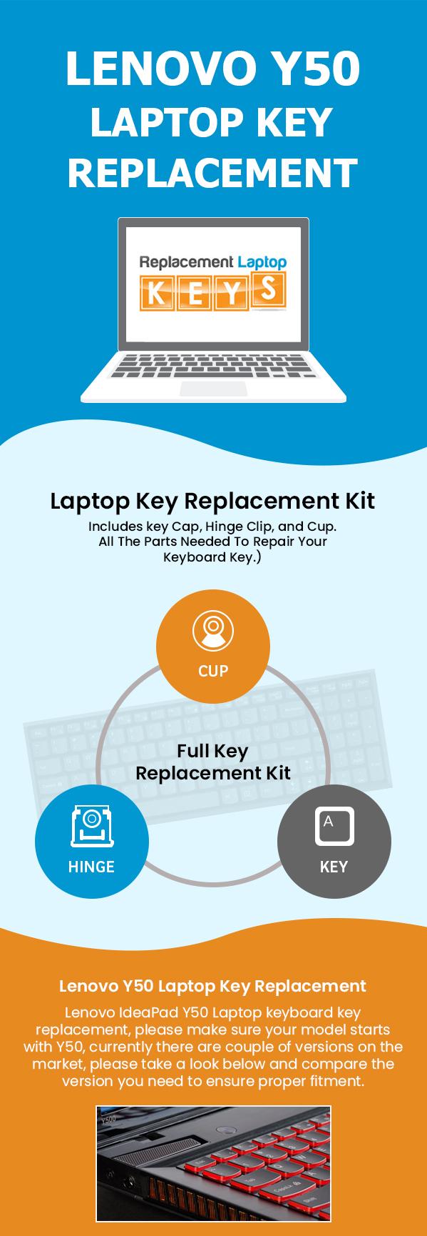 Buy Original Lenovo Y50 Laptop Replacement Keys from Replacement Laptop Keys