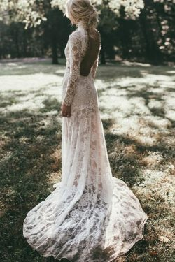 High Neck Lace Appliques Long Sleeve Mermaid Beach Wedding Dresses – PromDress.me.uk