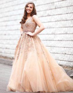 Champagne Brautkleider v Ausschnitt Mit Spitze | Hochzeitskleid A Linie