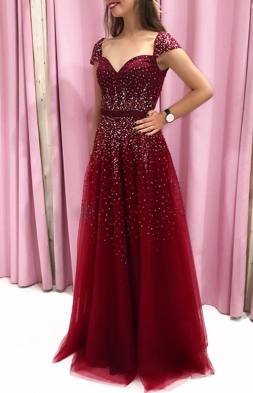 Elegante Abendkleider Lang Rot | Abiballkleider Bodenlang Online
