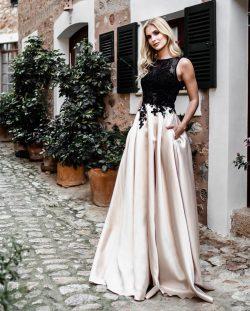Günstige Abendkleider Lang Schwarz | Abiballkleider mit Spitze Online