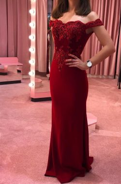 Schlichte Abendkleider Lang Rot | Party Kleider Online mit Spitze