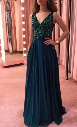 Dunkel Grün Abendkleider Lang V Ausschnitt | Etuikleider Chiffon Kleid Online