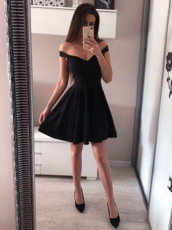 Designer Schwarze Abendkleider Kurz | Cocktailkleider Mini Günstig Online