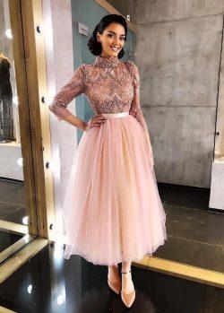 Elegante Rosa Cocktailkleider Kurz | Abiballkleider Mit Spitze Ärmel