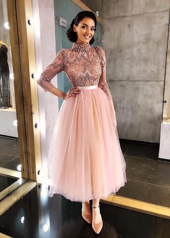 Elegante Rosa Cocktailkleider Kurz   Abiballkleider Mit Spitze Ärmel