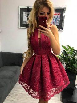 Elegante Rote Abendkleider Kurz | Cocktailkleider Abiballkleider Spitze Online