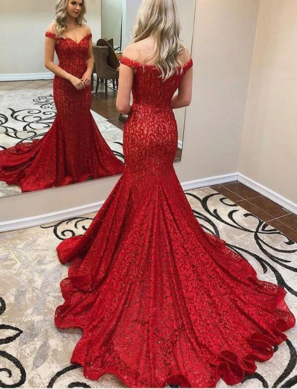 Designer Abendkleider Lang Rot | Abendmoden Spitze Online