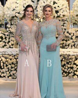 Luxus Abendkleider Lang V Ausschnitt | Chiffon Abendmode Blau