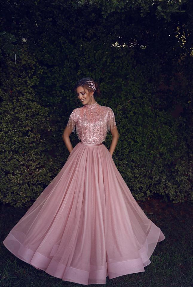 luxus abendkleider lang rosa  etuikleider abiballkleider