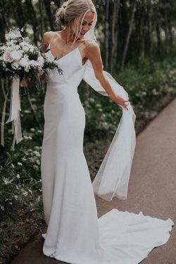 Simple Spaghetti Straps Mermaid Beach Wedding Dresses V Neck Satin Boho Bridal Dresses on sale – ...