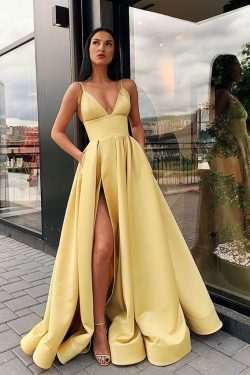 Spaghetti Straps V Neck Yellow Prom Dresses with Pockets High Slit – PromDress.me.uk