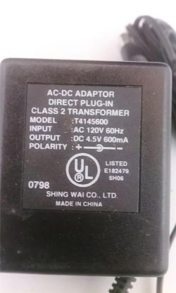 New T414600 Direct Plug-In Class 2 Transformer AC DC Adaptor DC 4.5V 600mA