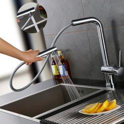 Einhand wasserhahn küche Homelody mit um 360 Grad drehbarer Düse und ausziehbarer Dusche
