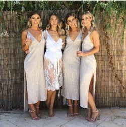 A line Ankle Length Deep V Neck Bridesmaid Dresses with Side Slit, Wedding Party Dress on sale – ...