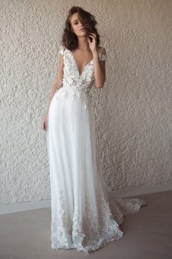 A Line Tulle Lace Appliques Wedding Dresses Short Sleeve Backless V Neck Bridal Dress on sale –  ...