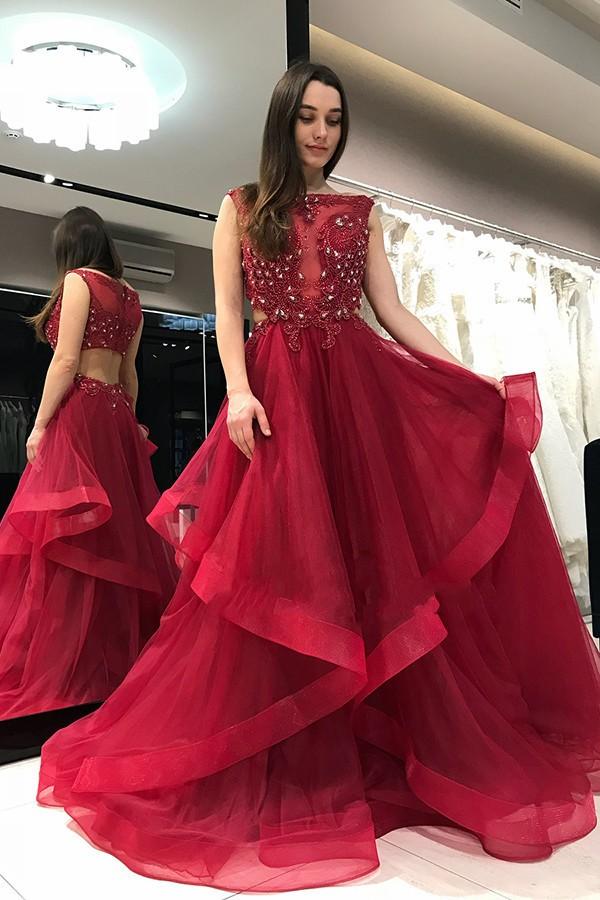 Elegante Abendkleider Lang Rot | Bodenlang Abiballkleider Mit Spitze
