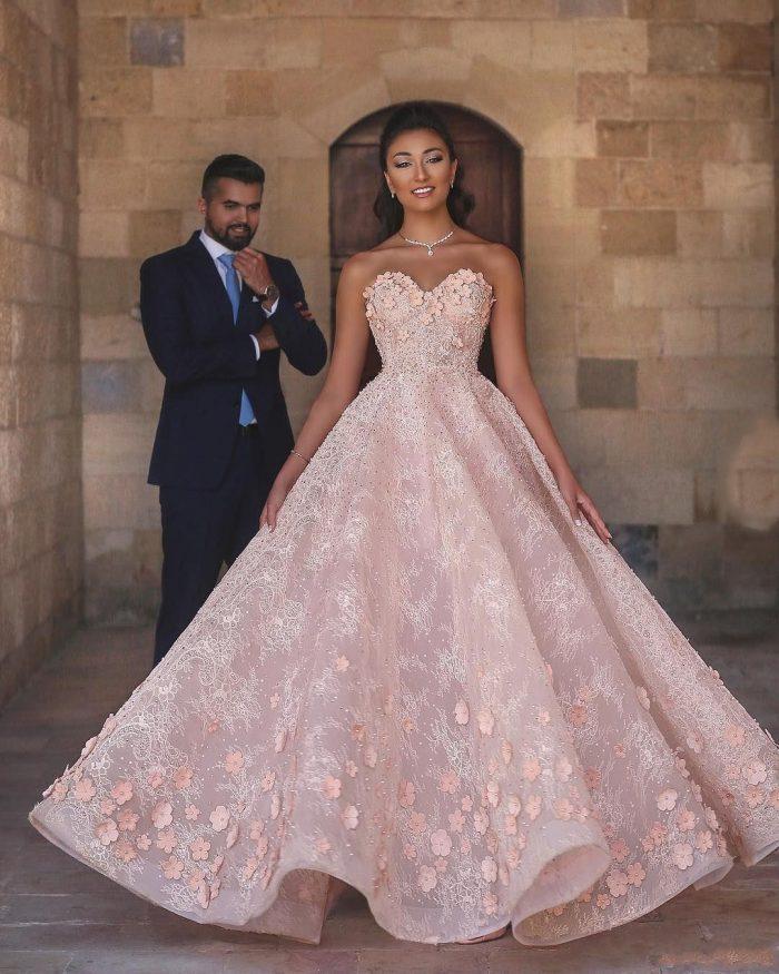 Fashion Abendkleider Lang Rosa | Abendmoden mit Spitze Online