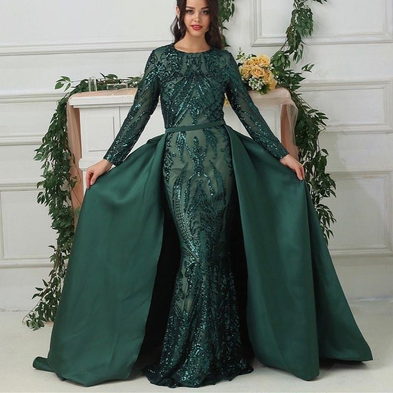Luxus Abendkleider Mit Ärmel Grün | Abiballkleider Lang Glitzer