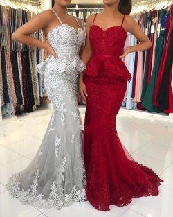 Rote Abendkleider Lang Spitze | Abiballkleider Abendmoden Online