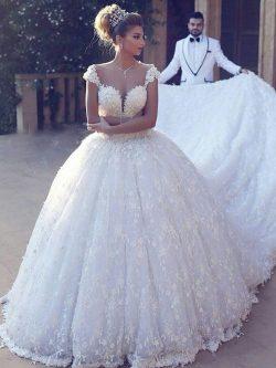 Elegante Brautkleider Prinzessin | Weiße Spitze Hochzeitskleider Online