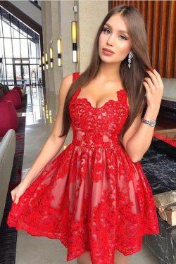 Rote Cocktailkleider Kurz | Spitze Abendkleider Mini Online