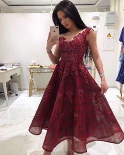 Designer Rote Cocktailkleider Online | Spitze Abendkleider Kurz Kaufen