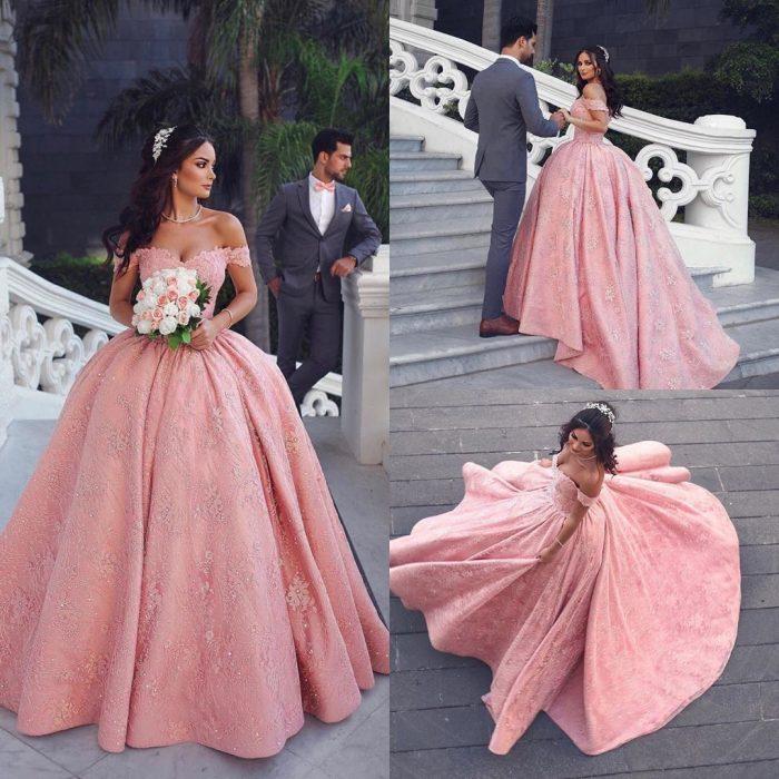 Luxus Abendkleider Lang Rosa | Prinzessin Abendmoden Online