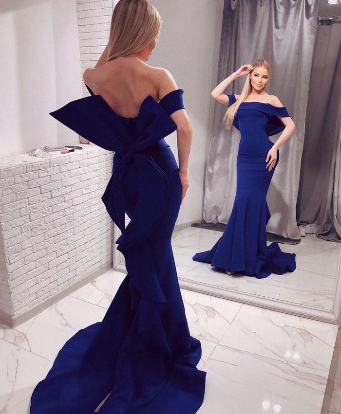 Schlichte Abendkleider Lang Blau | Abendmoden Abiballkleider Online