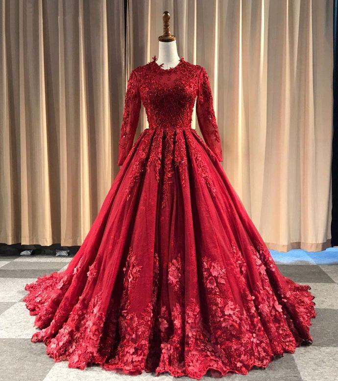 Rote Abendkleider Lang Günstig | Spitze Abiballkleider mit Ärmel