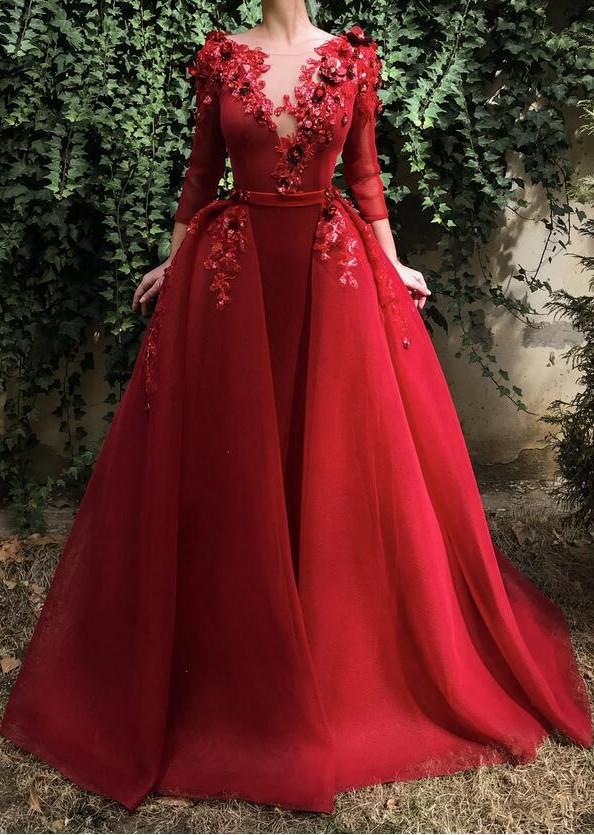 Designer Abendkleider Mit Ärmel | Weinrot Abendmoden Online