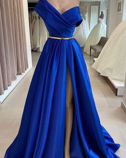 Fashion Abendkleider Lang Royal Blue | Schlichte Abendmoden Online