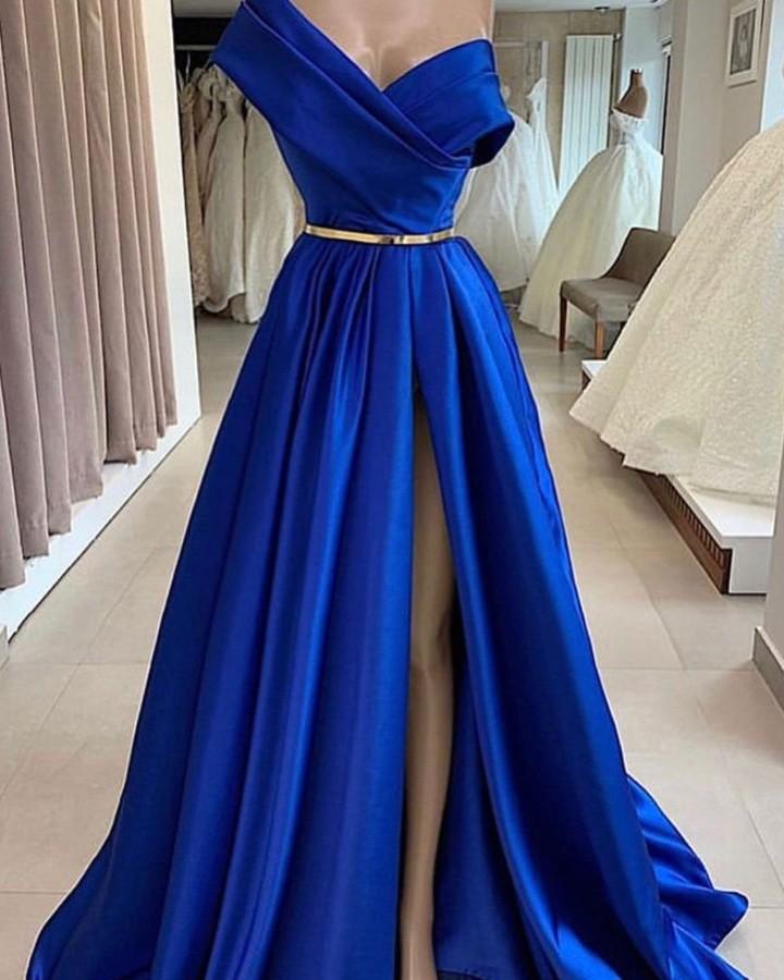 Fashion Abendkleider Lang Royal Blue | Schlichte Abendmoden Online