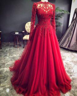 Luxus Rote Abendkleider Mit Ärmel | Abendmoden Mit Spitze