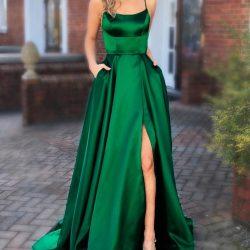 Schlichte Abendkleider Lang Grün | Abiballkleider Unter 100