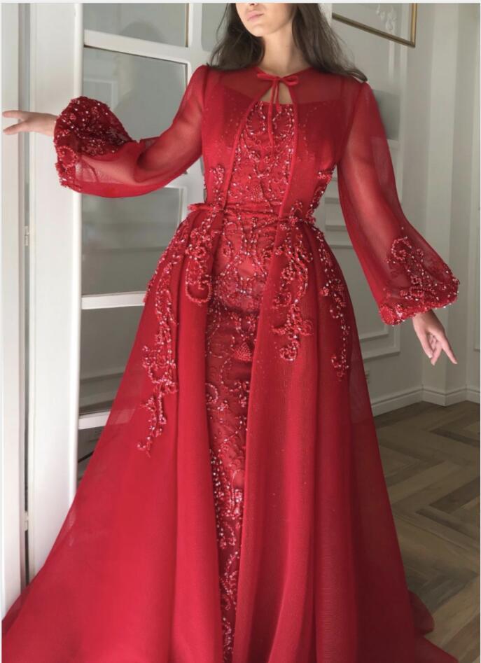 Luxus Abendkleider Mit Ärmel | Rote Abendkleid Lang Günstig