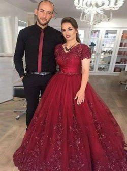 Modern Prinzessin Brautkleider Weinrot | Spitze Hochzeitskleider Günstig Online