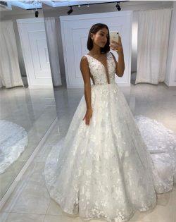 Fashion Prinzessin Brautkleider A Linie | Spitze Hochzeitskleider Online