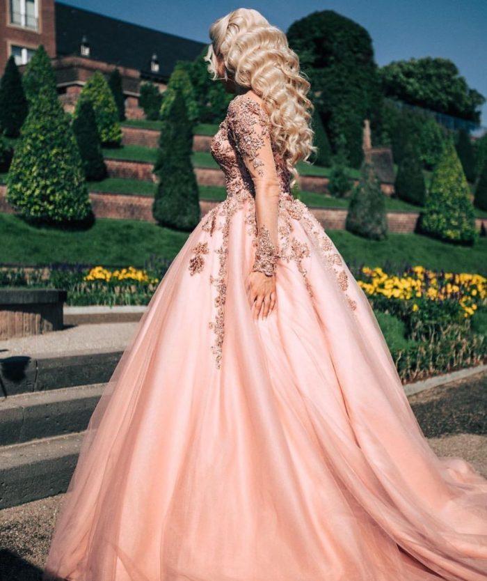 Rosa Brautkleider Mit Ärmel   Hochzeitskleider Prinzessin Online