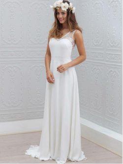 Shlichte Brautkleider A Linie | Chiffon Hochzeitskleider Mit Spitze