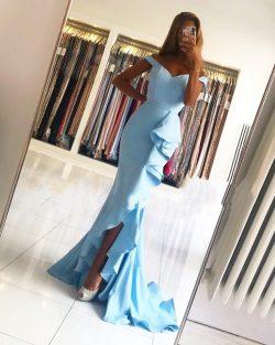 Schlichte Abendkleider Lang Blau | Abiballkleider Günstig Online