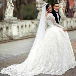 Luxus Brautkleider Mit Ärmel | Spitze Hochzeitskleider Prinzessin