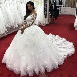 Fashion Brautkleider Mit Ärmel | Günstige Hochzeitskleider Spitze Prinzessin