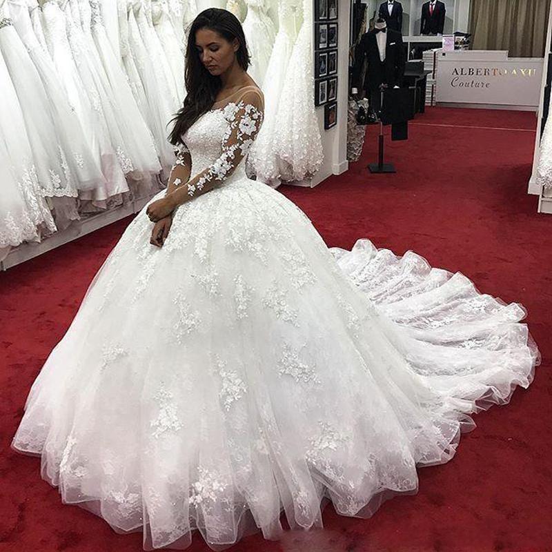 Fashion Brautkleider Mit Ärmel   Günstige Hochzeitskleider Spitze Prinzessin