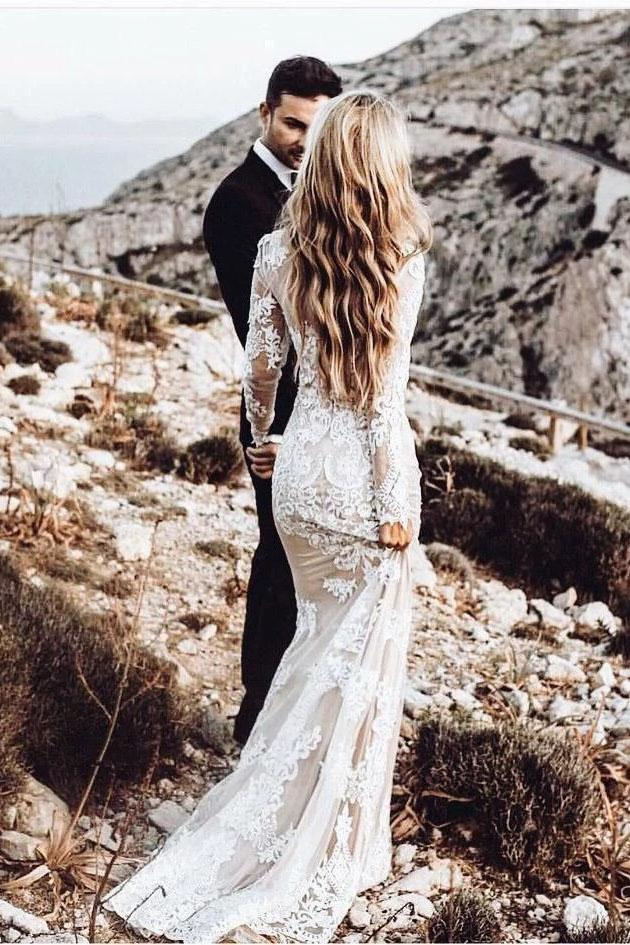 Vintage Long Sleeve Mermaid Lace Applique Wedding Dresses Beach Wedding Gowns on sale – PromDres ...