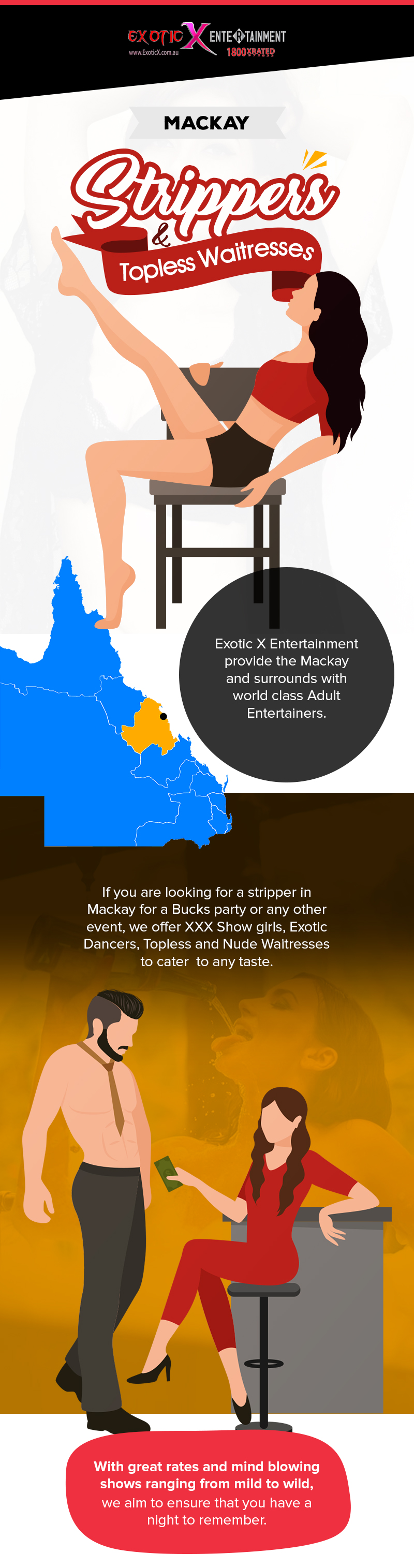 Choose EXE to Hire Strippers & Topless Waitresses in Mackay